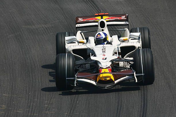 David Coulthard of Great Britain and Red Bull Racing drives during qualifying for the Brazilian Formula One Grand Prix at the Interlagos Circuit on...