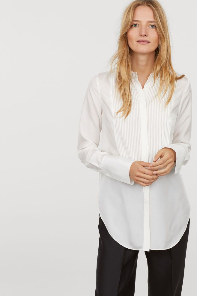 b2ff1cd20c0ec Silk Shirt - White - Ladies