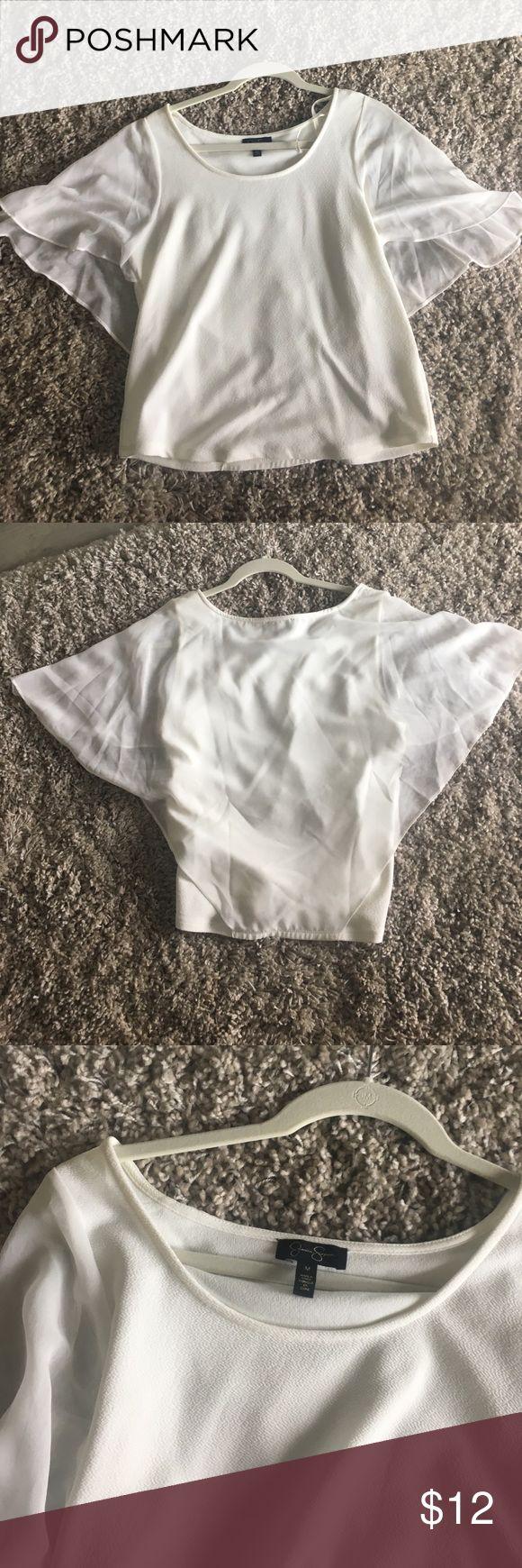 White Jessica Simpson shirt never worn Size medium sheer sleeves Jessica Simpson Tops Blouses