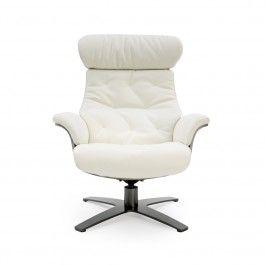 FAUTEUIL INCLINABLE EN CUIR...avec son pouf assorti. Un classique tout confort avec son siège et dossier ajustable.