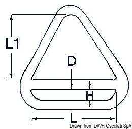 Anello triangolare con barretta per zerli