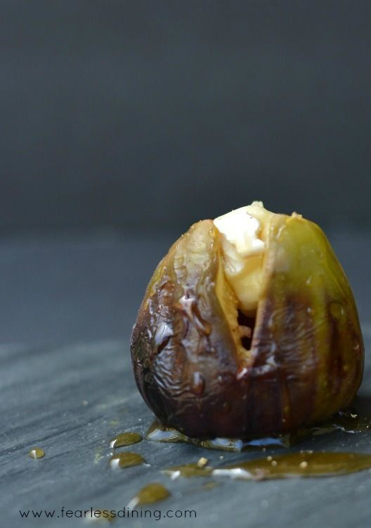 Grilled Brie Stuffed Figs with Honey   http://www.fearlessdining.com  #figs #stuffed figs #glutenfree