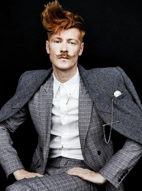 Style Homme.  Men, well dressed.  Francois Verkerk. Amazing plaid suite, tweed overcoat, pocket watch, hair and stache!