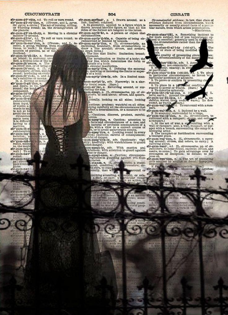 Sad Vampire girl, Halloween art, beautiful creepy girl, cemetery, vintage dictionary page art print -  - 1