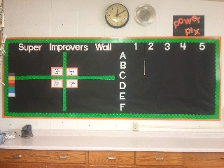 Super Improvers Wall and Power Pix bulletin board, getting ready for my whole brain classroom!