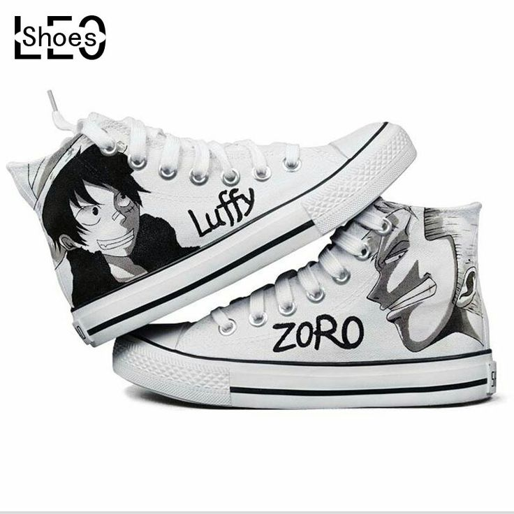 Leo anime giapponese figures one piece series graffiti scarpe scarpe uomo donna tela stile rufy roronoa zoro dipinta a mano sneakers(China (Mainland))