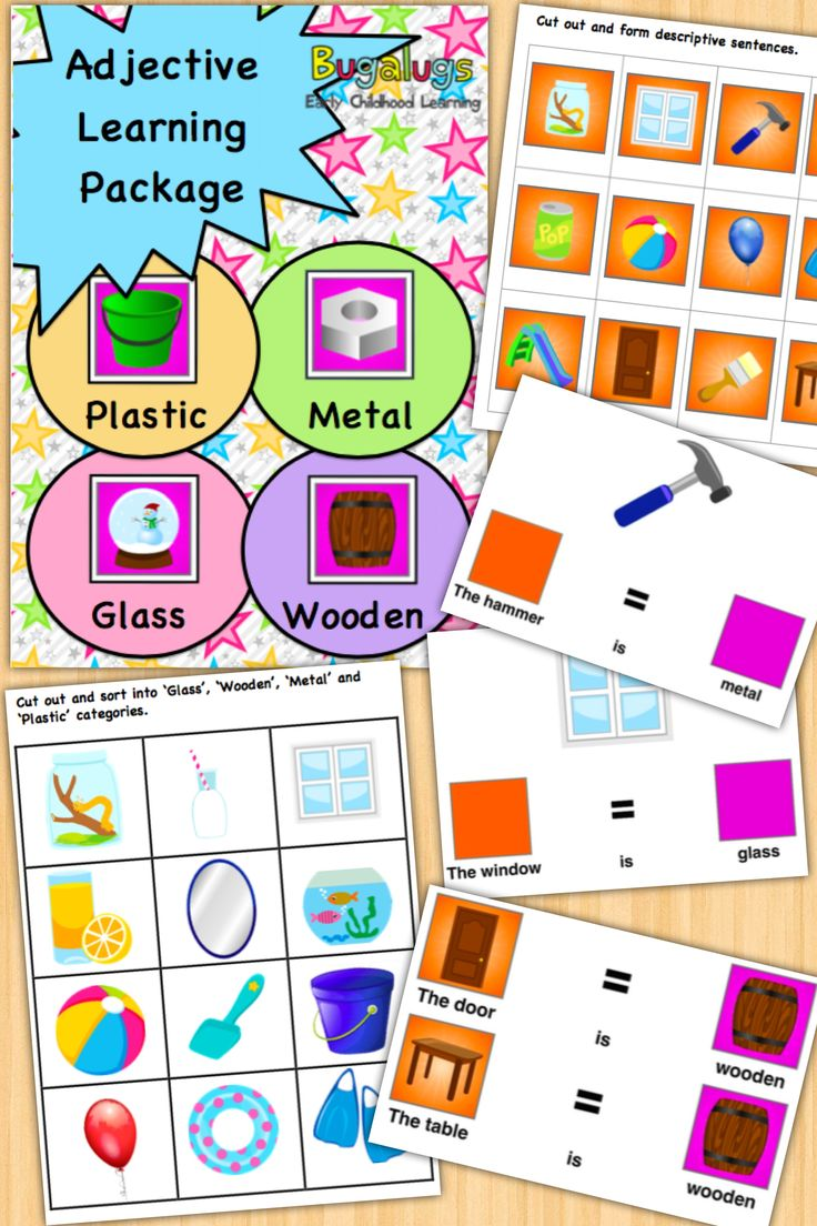 - Material (Wooden, Plastic, Metal and Glass) Concept Learning Package -Learn the adjectives 'wooden', 'plastic', 'glass' and 'metal' in this fully inclusive package of activities and flashcards. Use the provided activities to help the child categorise everyday objects into 'wooden', 'plastic', 'glass' and 'metal', form descriptive sentences using these adjectives and much more. Perfect for Speech Pathologists, ESL and special needs / special education teachers.
