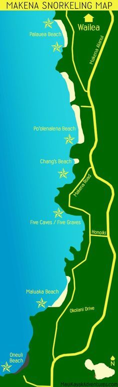 The Best Snorkeling Spots Around Maui via Maui. Great map for locating water adventures in Maui!
