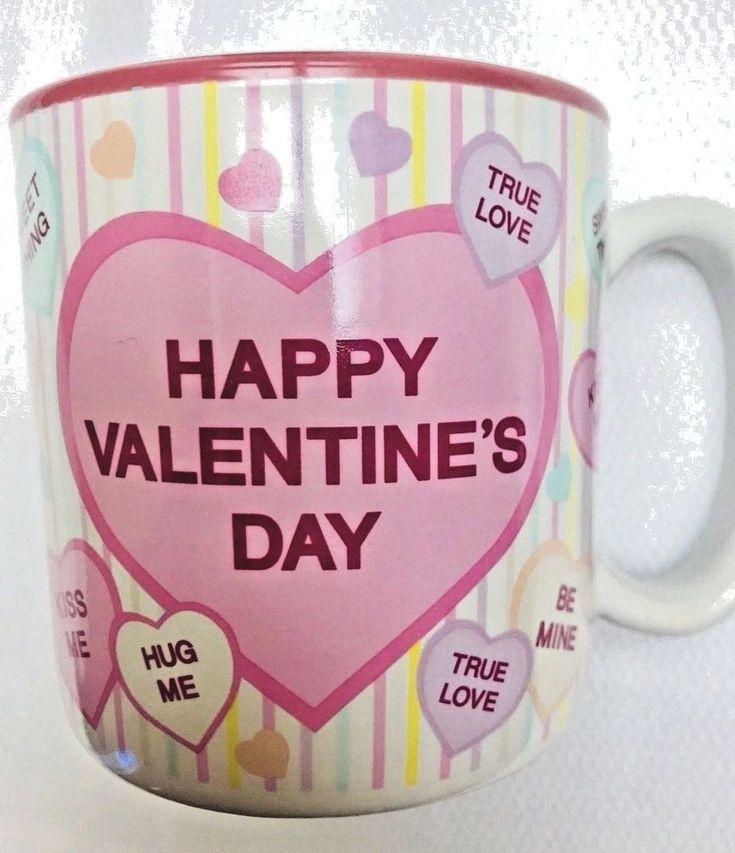 Happy Valentine's Day Sweet Heart Coffee Mug Cup 12 oz. Candy Sayings Pink  #BurtonBurton
