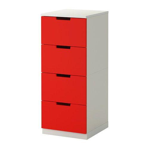 นูร์ดลี ตู้ 4 ลิ้นชัก - แดง/ขาว - IKEA