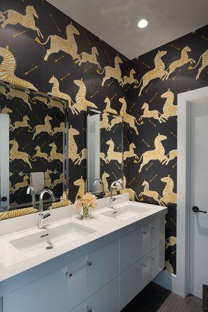 zebra wallpaper in bathroom