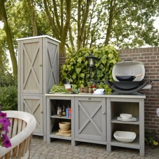 Outdoor kitchen cabinet & tool storage armoire to cover gas meter and store tools.