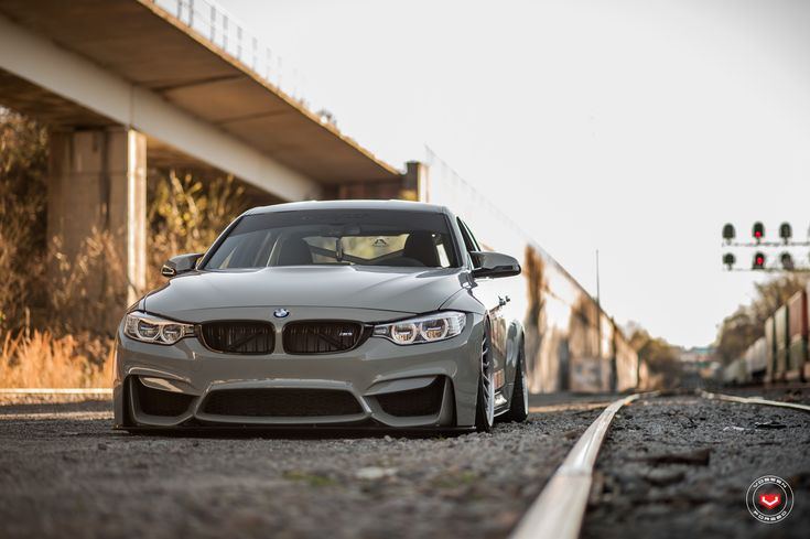 Grigio Medio BMW M3 Slammed On Vossen Wheels - http://www.bmwblog.com/2017/04/22/a-nardo-gray-bmw-m3-slammed-on-vossen-wheels/
