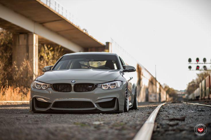 Grigio Medio BMW M3 Slammed On Vossen Wheels - http://www.bmwblog.com/2017/04/22/a-nardo-gray-bmw-m3-slammed-on-vossen-wheels/