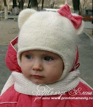 Вяжем шапочку-кошку с ушками для девочки. Схема вязания и описание