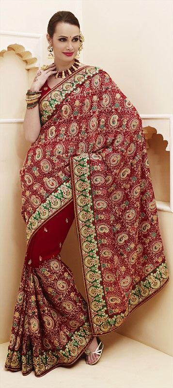 132041, Bridal Wedding Sarees, Faux Georgette, Valvet, Patch, Kasab, Border, Machine Embroidery, Sequence, Resham, Red and Maroon Color Family; $99