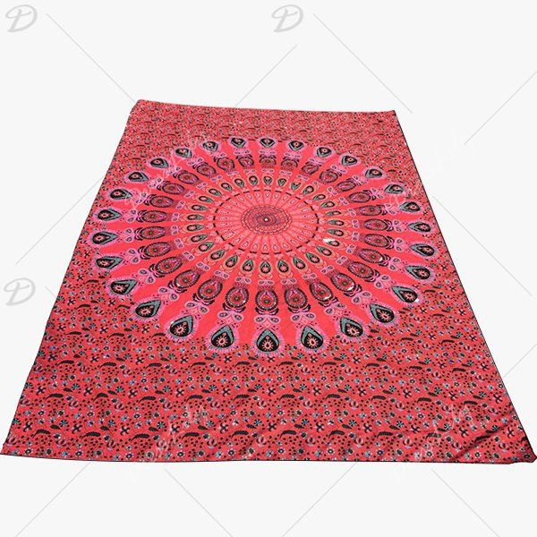 Ethnic Style Red Mandala Yoga Mat Gypsy Cotton Tablecloth Round Beach Towel Shawl Wrap Scarf #CLICK! #clothing, #shoes, #jewelry, #women, #men, #hats, #watches