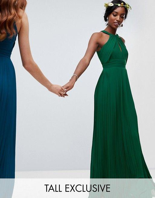 0be26f7297 TFNC Tall pleated bridesmaids maxi dress in forest green | Bridesmaids  6.22.19 | Maxi bridesmaid dresses, Forest green dresses, Tfnc
