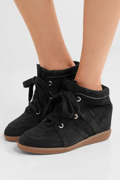 Concealed wedge heel measures approximately 50mm/ 2 inches Black suede Lace-up front ImportedLarge to size. See Size & Fit notes.