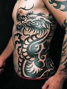 japanese dark black full sleeve dragon