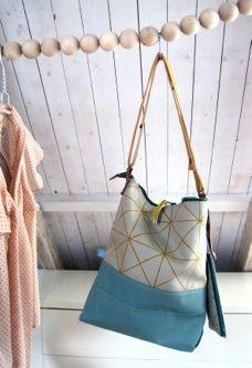 hand screenprinted geometric pattern, a bag with matching small purse