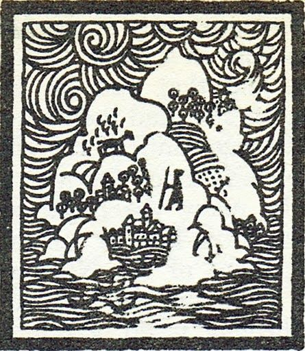 A woodcut from the '70s printing of A Wizard of EarthSea, by Ursula Leguin. The image is by Nicolas Sidjakov (I think).