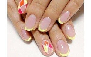 маникюр цветной френч на короткие ногти, на короткие круглые ногти