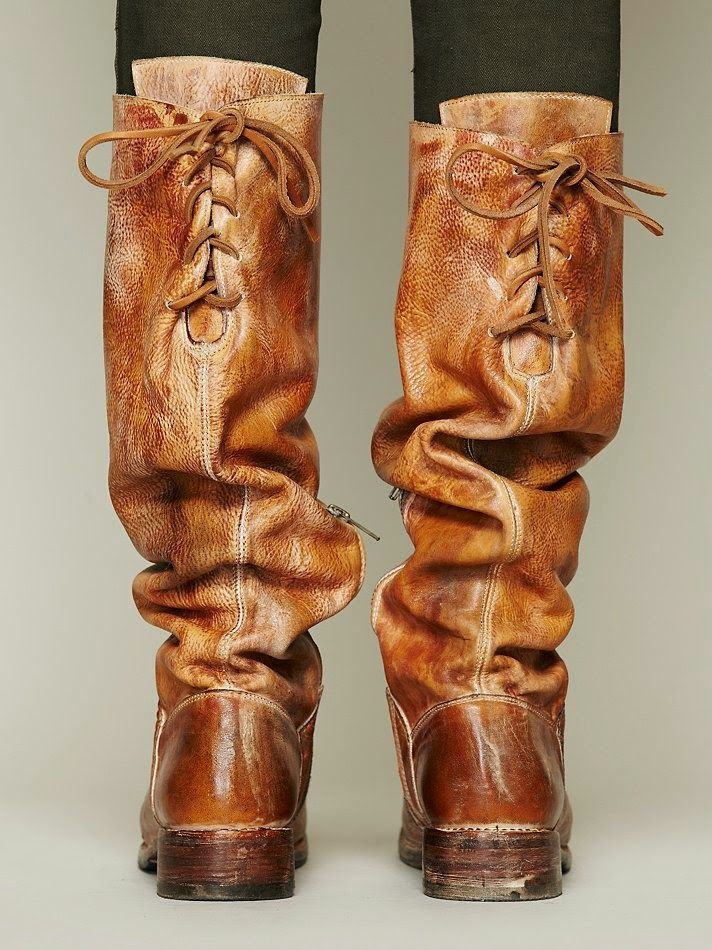 Back Lace Leather Long Boots