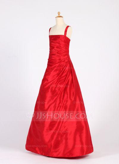 Forme Princesse Encolure carrée Longueur au sol Taffeta Robe de demoiselle d'honneur - junior avec Plissé (009016222)