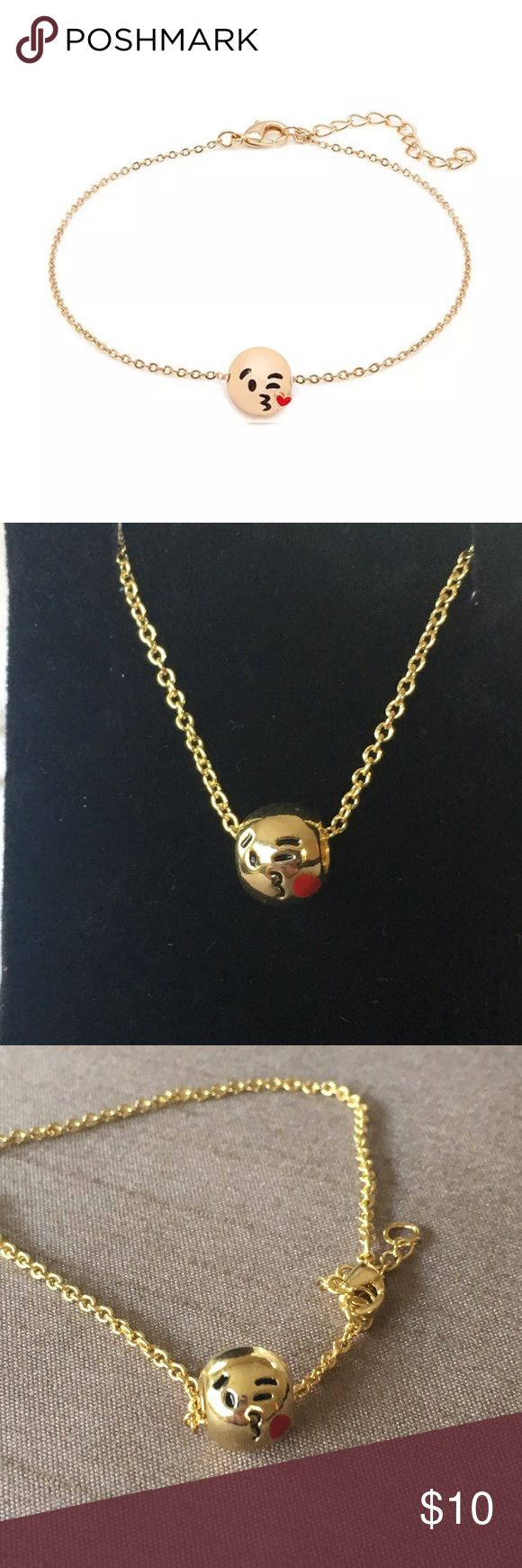 """Emoji Kissy Face Charm Bracelet Emoji Kissy Face Charm Bracelet with a gold love eyes bead on an adjustable bracelet - approximately  7"""" long with an 1"""" extender.  In my opinion the kiss on the face looks more circular than heart shaped. Jewelry Bracelets"""