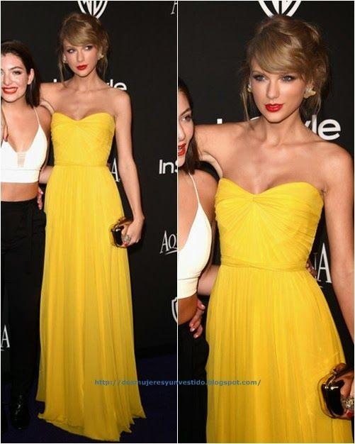 De las fiestas post-Golden Globes: Taylor Swift. Con un vestido amarillo de Jenny Packham primavera 2015. El clutch es de Jimmy Choo.