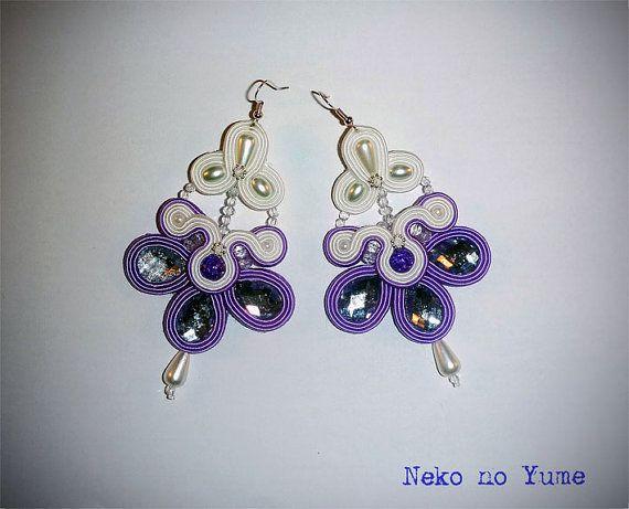Soutache bridal earrings  Lavender Bride by IzabelaCichocka