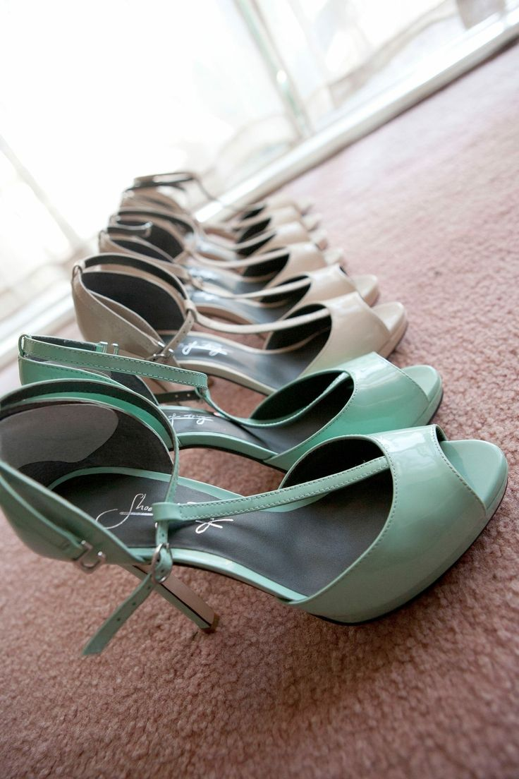 Wedding shoes, bridal party, same shoes in different colours, shoes of prey, tbar, sea foam, mint