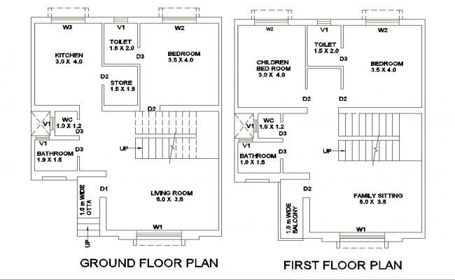 Ground And First Floor Plan Details Of One Family House Dwg File Floor Plans Beautiful House Plans House Entry Doors