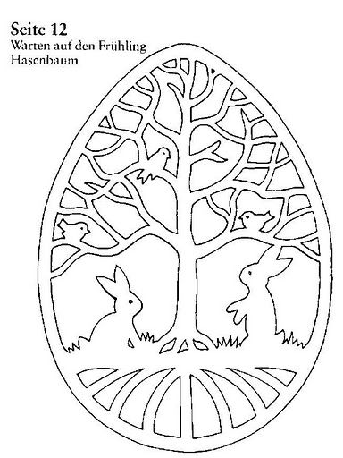 Egg papercut pattern with tree, birds and bunnies