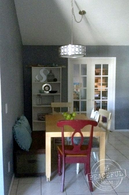 Take a peek at our fixer upper dining room update including a couple of frugal ideas for your home.  -- from The Peaceful Mom