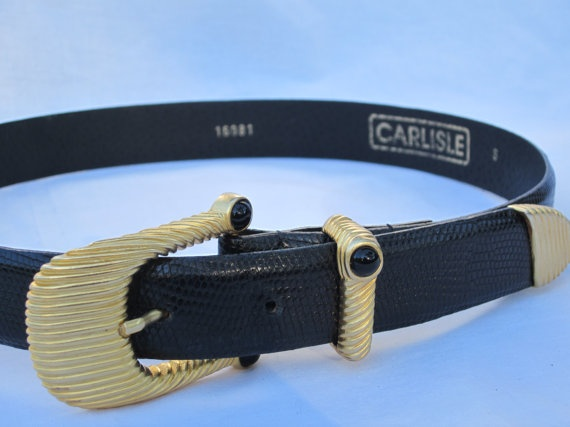 Vintage 1980s black leather Carlisle belt by AfterWhileCrocodile, $28.00