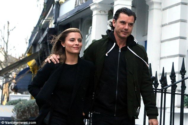 Loved up: Gavin Rossdale, 51, and girlfriend Sophia Thomalla, 28, opted for a change of scenery as they enjoyed a stroll through North London on Thursday