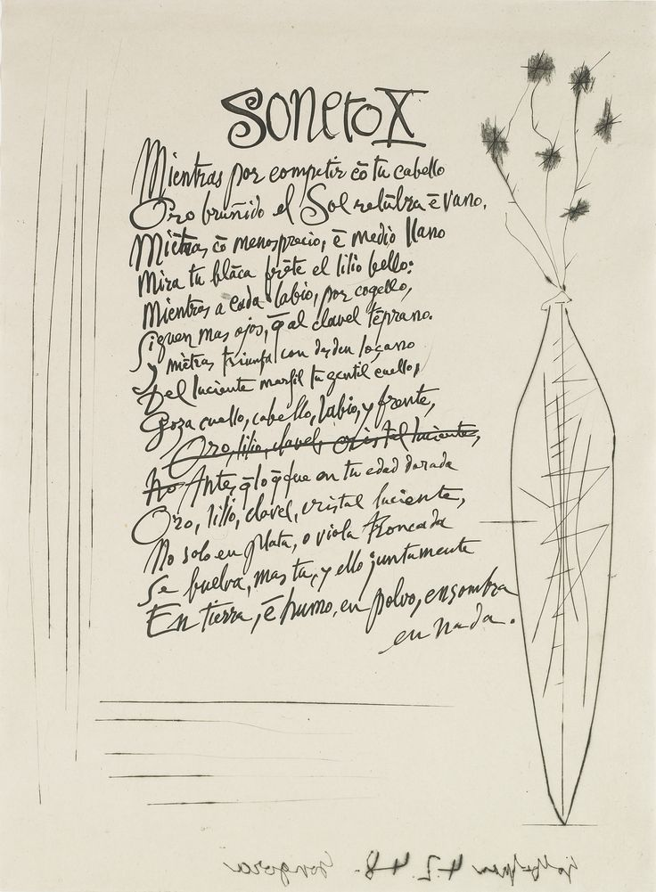 Pablo Picasso (Málaga, Spain, 1881-1973, Mougins, France), Soneto X: Mientras por competir con tu cabello, 1948. Etching on China paper. Meadows Museum Modern and Contemporary Artists Collection