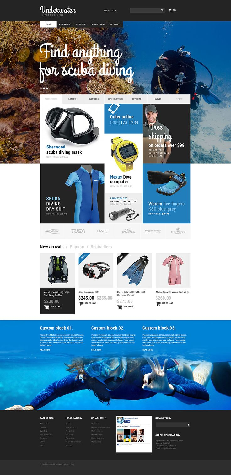 Make Waves with these 8 Awesome Swimming & Dive Store PrestaShop Themes! - Making Waves