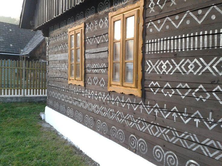 Motive of typical folk housing culture in Slovakia on Sale | Chalupa, Čičmany