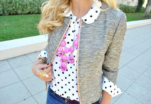 polka dot blouse & tweed blazer