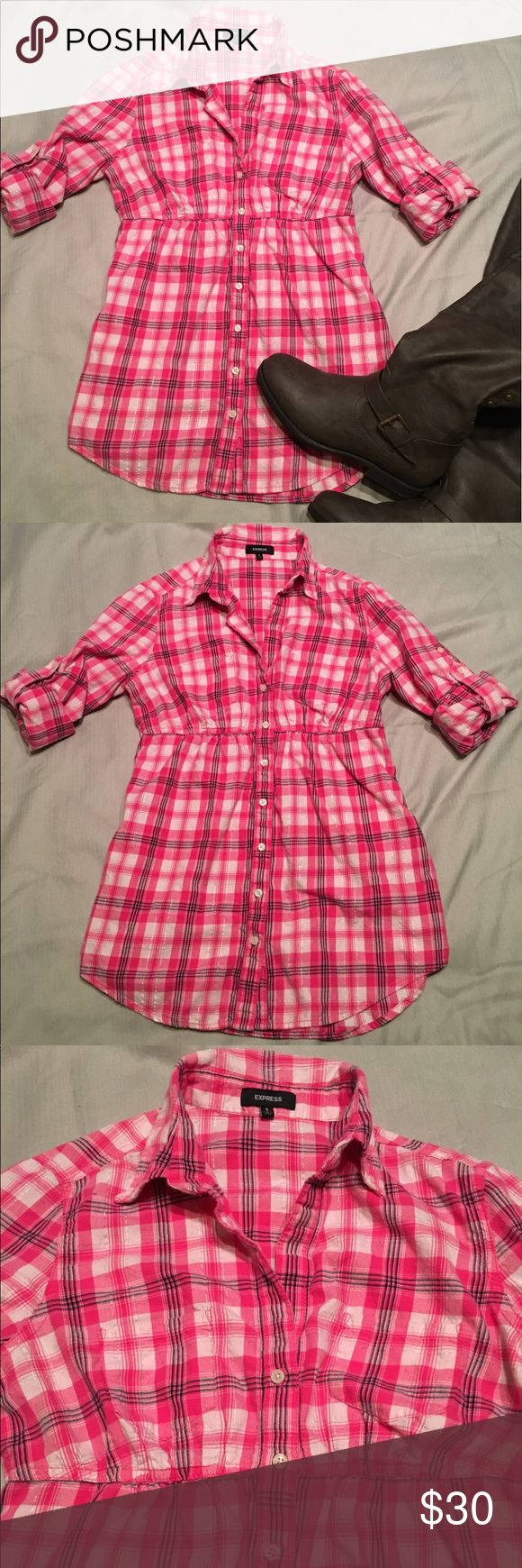 Express pink flannel shirt Express brand flannel shirt in size small. Mostly pink with some black, white, and silver. Sleeves can be worn down or folded up. Does not button all the way up. Fitted empire waist for a more feminine look. Excellent condition. Express Tops Button Down Shirts