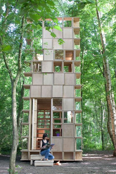 "L'observatoire / CLP Architects ""This project, realized for the Archi<20 competition, consisted on proposing a pavilion of 20 m2 floor space to be constructed in a protected natural area in Muttersholtz, Alsace. With a limited budget of 7000 Euro, the commission allowed us to seek for a precise and careful architecture."""