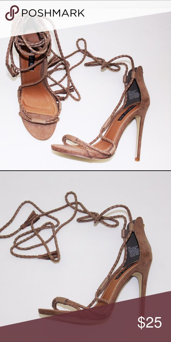 Lace Up Sandals Brand New In Box-- super sexy sandals can be dressed up or down. Color--Taupe (faux suede) Izabella Rue Shoes Sandals