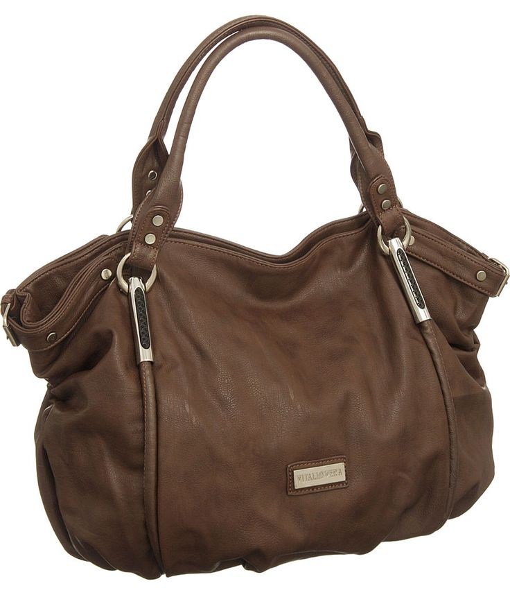 Purse Boutique: Chocolate Brown Vitalio Oversized ''Alicia'' Hobo Handbags, Purses
