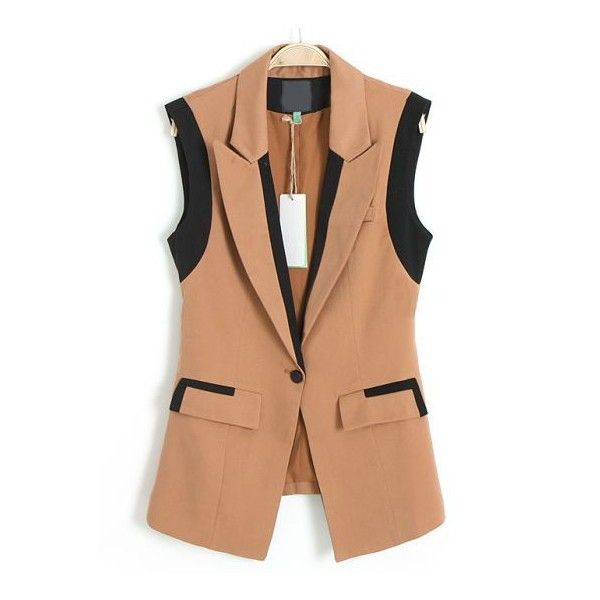 Хаки нотч нагрудный без рукавов карманный пиджак (96 BRL) ❤ liked on Polyvore featuring outerwear, jackets, blazers, blazer, sheinside, sleeveless blazer, beige blazer, beige jacket, sleeveless jacket and blazer jacket
