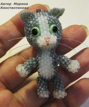 котенок из бисера,мастер класс, котенок брелок из бисера,мк,своими руками,кот из бисера,игрушки из бисера,как плести, мозаичное плетение, схемы,для начинающих,животные из бисера, делаем брелки,брелок из бисера