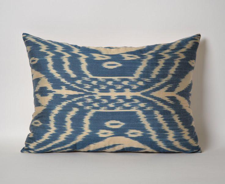 White Blue Silk Ikat Pillow Cover Blue Silk Ethnic Throw Cushion Throw Pillow Decorative Sofa ...