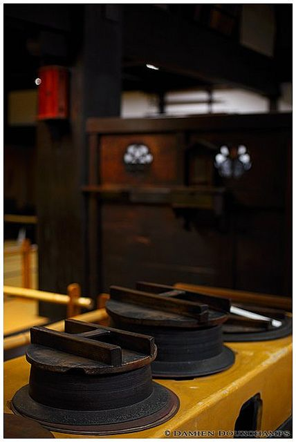 Cooking pots in traditional Japanese kitchen, Sumiya 角屋, Kyoto